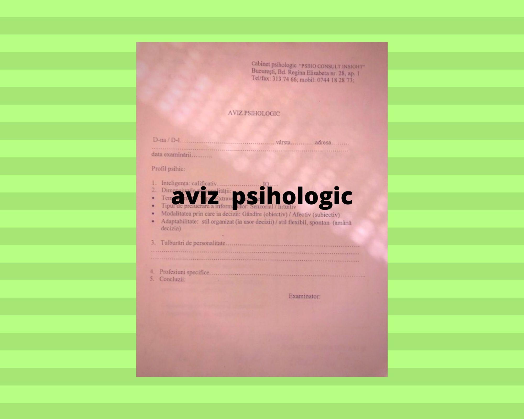 aviz psihologic